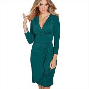 Venus Emerald Green Side Ruffle Sheath Dress Sz S
